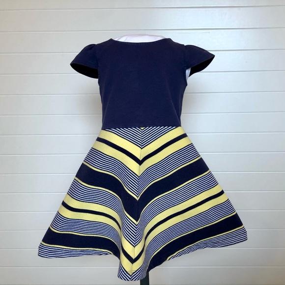 Gymboree Mod Girls navy and yellow dress sz 5